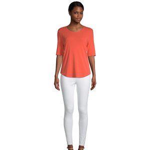 NEW TIME AND TRU WOMEN'S SCOOP NECK CORAL TEE 3X